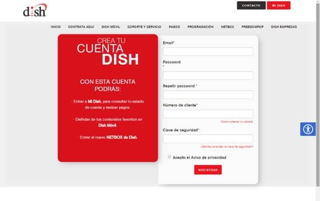 Crear cuenta Dish